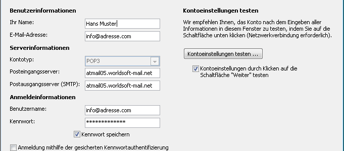 Atmail bei Outlook einrichten