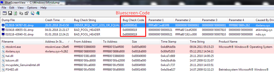 Bluescreen :( Code-Liste ⋆ e1de Blue Screen of Death Liste
